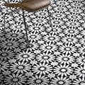 Moroccan Mosaic & Tile House CTP54-01 Alhambra Handmade Cement Tile 8''X8'' Black/White/Gray