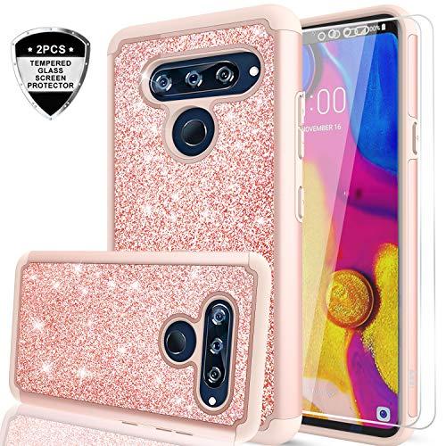 LG V40 Glitter Case, LG V40 ThinQ Case, LeYi Glitter Bling Cute Girls Women Dual Layer Heavy Duty Protective Case for LG V40 ThinQ/LG V40 Rose Gold