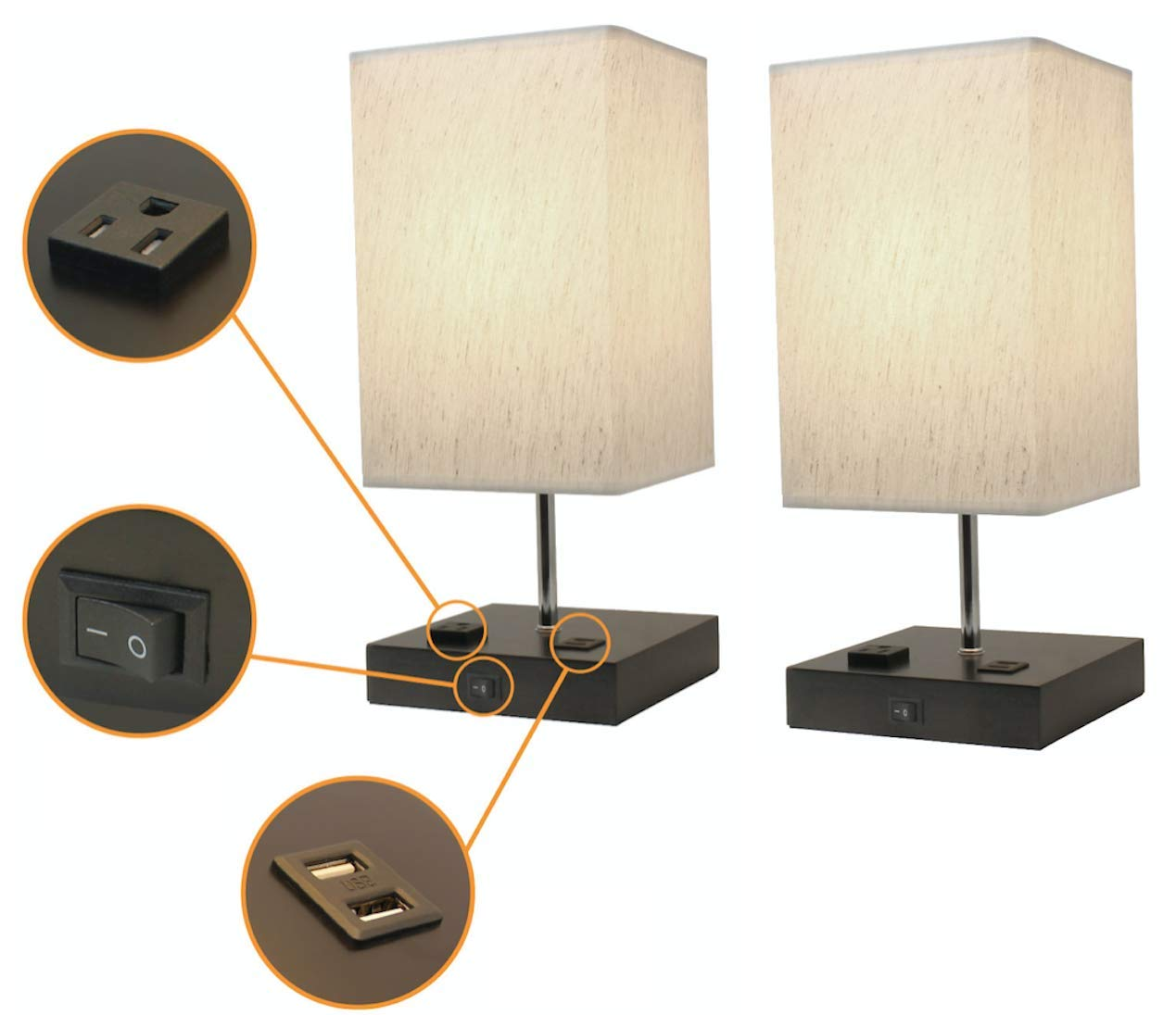 Paradis Lamp with 2 USB Ports & 1 Power Outlet. Modern Design, Wood Base with Fabric Shade. Great Desk Lamp & Nightstand Lamp, Charges Electronics (Set of 2)