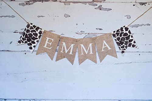 Giraffe Print Personalized Banner for Birthday Party or Baby Shower Decoration