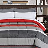 Teen Boys Bedding Sets Rugby Stripe Bed in a Bag Black Gray Red Stripe Comforter with Switchback Outdoor Gear Emergency Pocket Flashlight (Full)