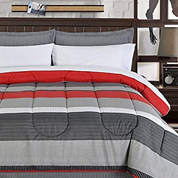 Teen Boys Bedding Sets Rugby Stripe Bed In A Bag Black Gray Red Stripe  Comforter With