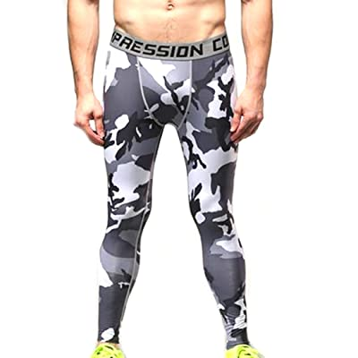 ARRIVE GUIDE Men's Funny Printed Compression Baselayer Leggings Dry Fit Tights for Running Cycling Gym Workout