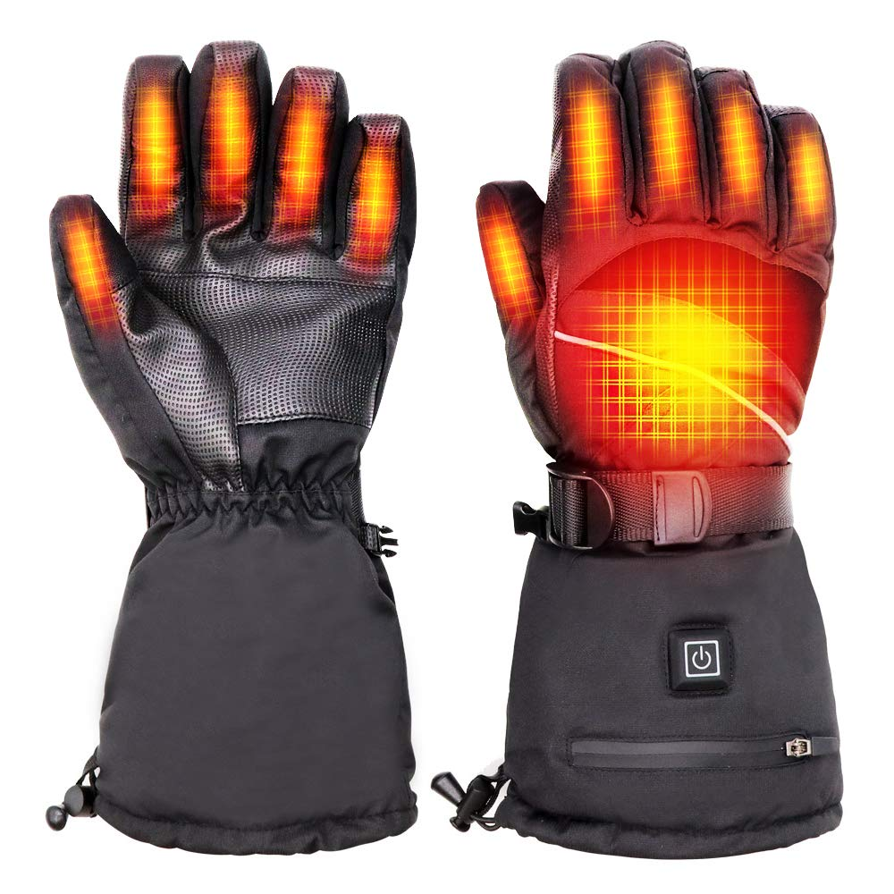 Mostof Heated Gloves with 7.4V Rechargeable Battery Powered, Men Women 2500MAH Electric Heated Gloves, Winter Warm Heated Gloves Mittens for Ski Motorcycle Snow Drive Camp Hike, Large by Mostof