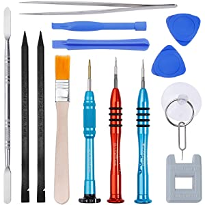 Vastar 16Pcs Cell Phone Repair Tool Kit for iPhone Precision Screwdriver Set with Magnetizer/ Demagnetizer Tool & Opening Pry Tools for iPhone X/8/8 Plus, 7/7Plus,6P/6S/6/5S/5/5C/4S/4/SE,iPod,iTouch