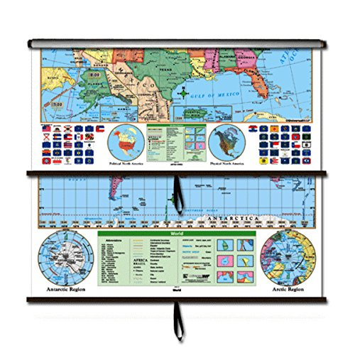 US/World Essential Combo Classroom Wall Map on Roller w/ Backboard