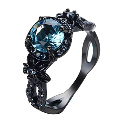 rongxing jewelry wedding rings blue crystal womens black gold size 6 - Crystal Wedding Rings