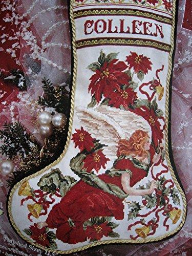 Janlynn Christmas Cross Stitch Poinsettia Angel Stocking (Janlynn Christmas Cross Stitch)