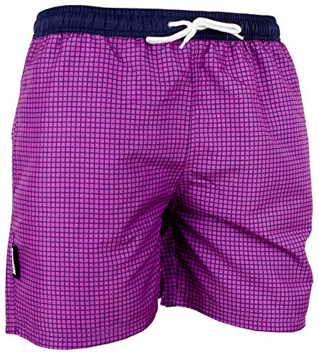 GUGGEN Men's swimming trunks swim shorts checked *different colours* Colour Purple XXL
