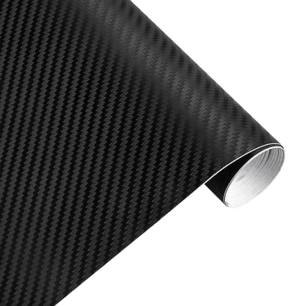 127 cm Pr/áctico Negro Etiqueta del Coche Roll Wrap Vinilo 3D de Fibra de Carbono Hoja de pel/ícula de Bricolaje BESTEU 30