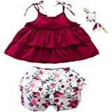 3PCS Newborn Baby Girl Clothes Short Sleeve Ruffled Romper Top Floral Shorts Pants Headband Outfit Sets