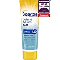 Coppertone Defend & Care Oil Free Sunscreen Face Lotion Broad Spectrum SPF 30 (3 Fluid Ounce) (Packaging may vary)