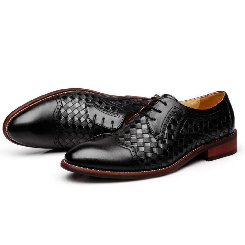 GAOLIXIA Zapatos de cuero de negocios para hombres Zapatos de vestir Zapatos de Bullock Zapatos ocasionales huecos tallados (Color : Negro, tamaño : 40) 40|Negro