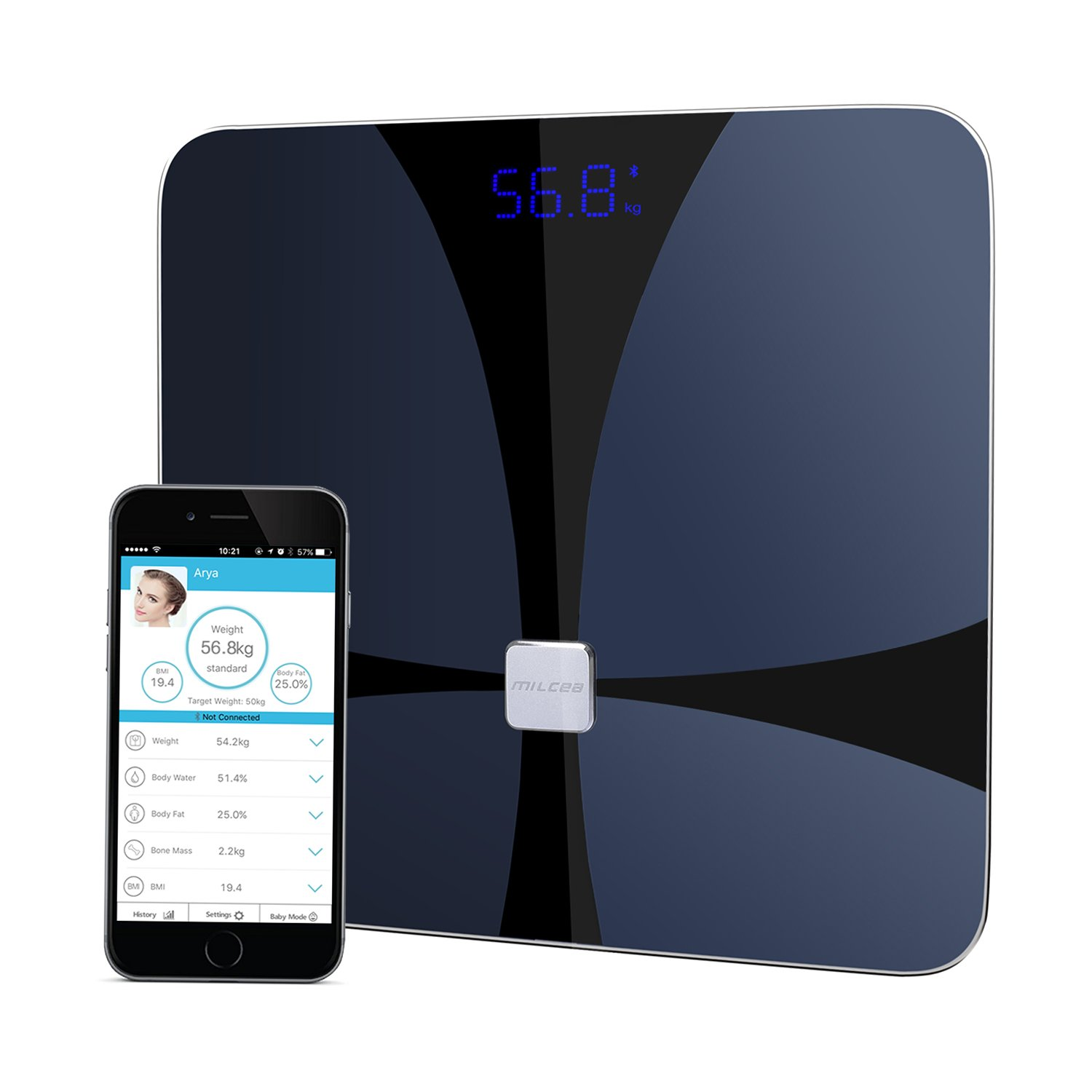 Milcea Body Fat Scale ITO Conductive Bluetooth Smart Scale with iOS Android App for Body Weight, Accurate Measurements BMI, Body Fat, Muscle Mass, Water, Bone Mass and Visceral Fat