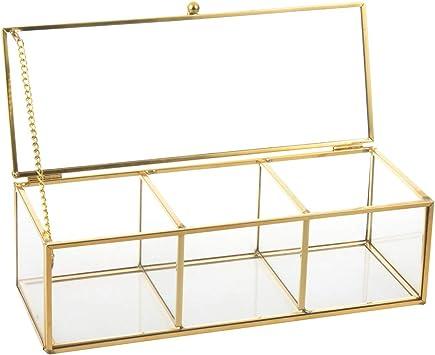 Feyarl - Joyero de Cristal Dorado para joyería, Caja de Almacenamiento para Anillos, Pendientes, Caja de Cristal Transparente Decorativa, Expositor de Belleza: Amazon.es: Bricolaje y herramientas