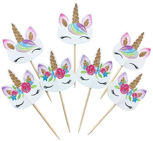 Uteruik - Púas Decorativas de Unicornio arcoíris para Cupcakes, Doble Cara, diseño de Unicornio para decoración de Pasteles, para cumpleaños, ...