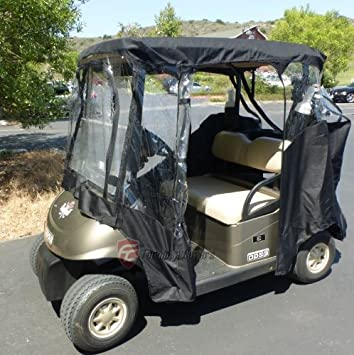 Black Golf Cart Driving Enclosure 2 Seater Heavy Duty