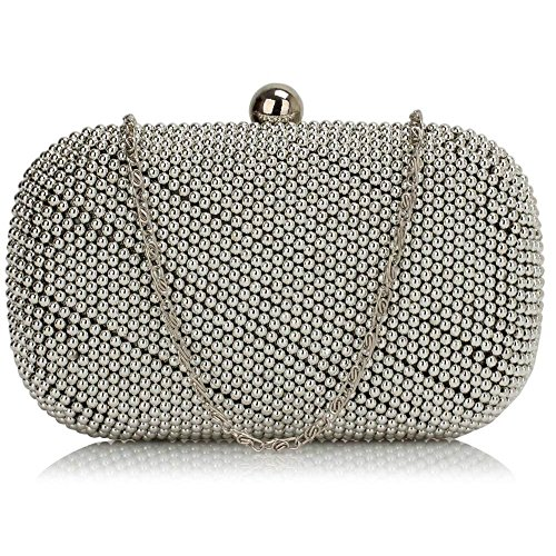 TrendStar - Cartera de mano mujer Blanco - Black/White Clutch Bag