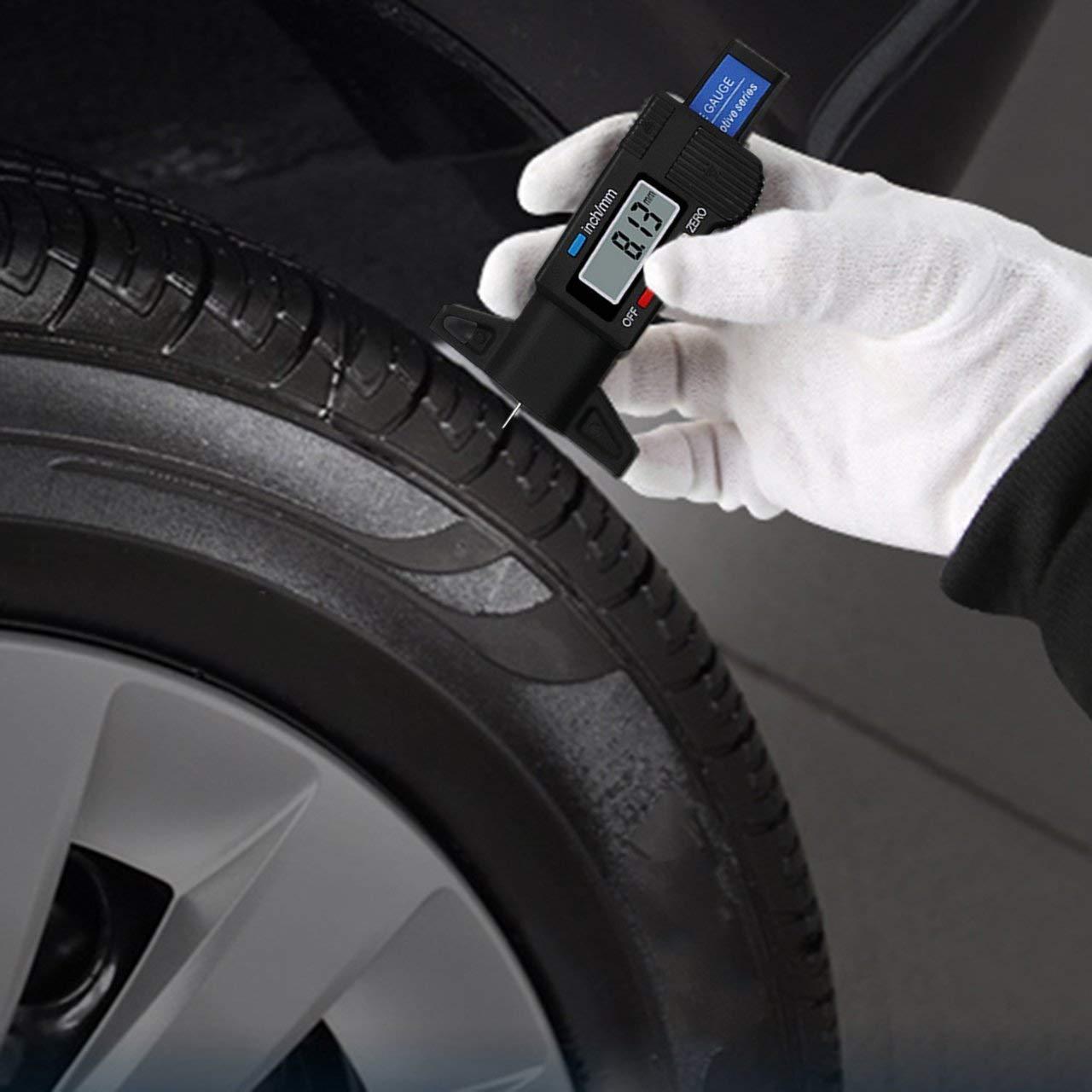 Jasnyfall Digital Car Tire Tread Depth Tester 0-25mm Tyre Tread Depth Gauge Meter black