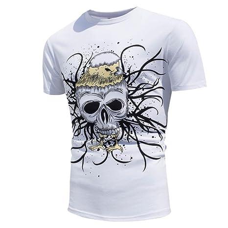 Yvelands Hombres guapos de Verano O-Cuello Súper Personalidad de la Moda Encuentro Sun Cambio de Color Camisa de Manga Corta Camiseta Casual Delgada, ...