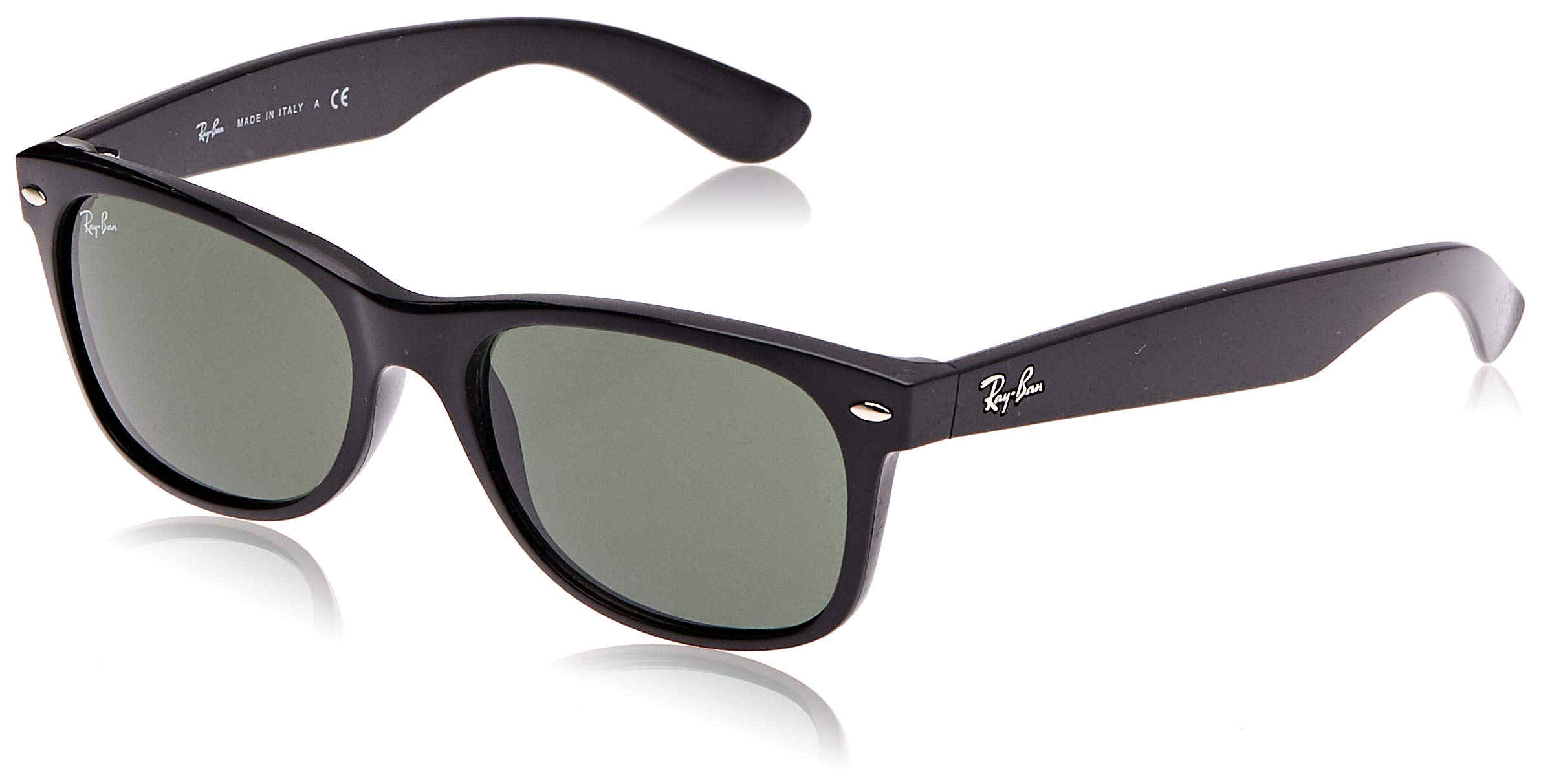 Ray-Ban RB2132 - New Wayfarer Non-Polarized Sunglasses Black Frame Crystal Green Lens Size 55 by RAY-BAN