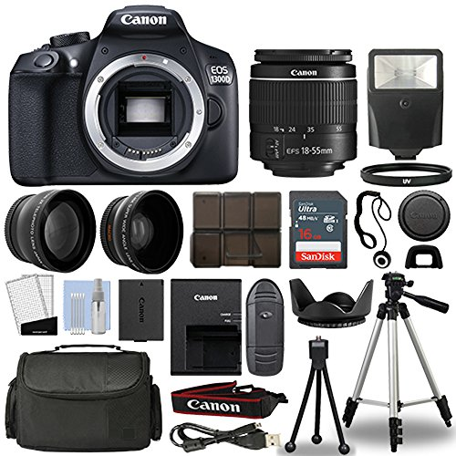 Canon 1300D/Rebel T6 DSLR Camera + 18-55mm 3 Lens Kit + 16GB Top Value Bundle - 2x Telephoto Lens + Wide Angle Lens + 3 Piece Filter Kit + Tripod + Lens Hood + Flash + More! - International Version