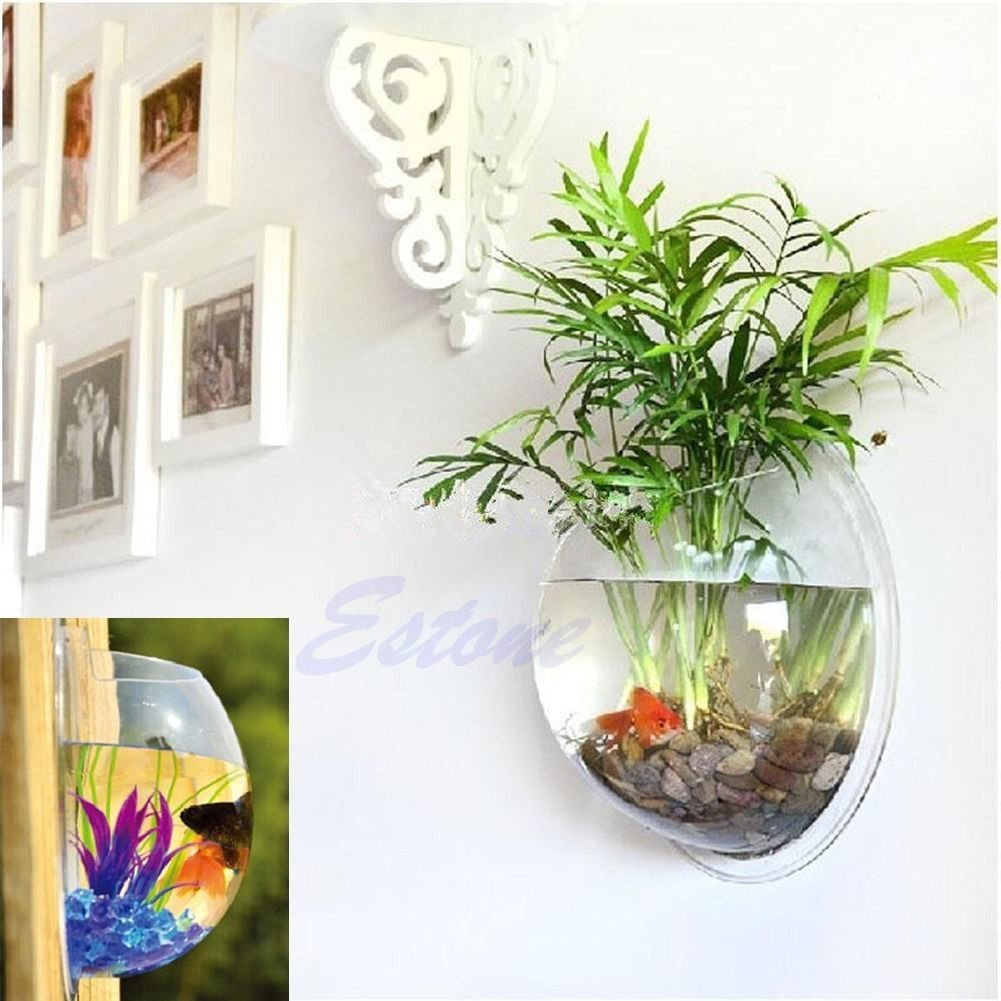 Amazon.com : Vktech Plant Wall Hanging Mount Bubble Aquarium Bowl Fish Tank  Aquarium Home Decoration (Mirror) : Pet Supplies