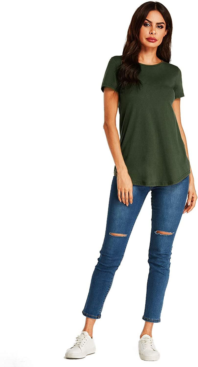 SUNNYME Long Sleeve T Shirt Women V Neck Tunic Tops Jumper Cotton Casual Blouses and Tops for Women B-army Green