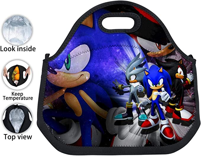 Amazon Com Lunch Bag Sonic Sega Carry Case Tote With Zipper Cooler Container Bags Picnic Sports Handbag Pouch For Women Men Kids Girls