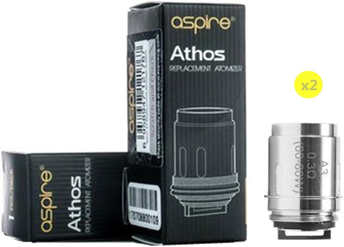 ASPIRE –Pack de 2 resistencias Athos A3 (0,3 ohm) para Claromizador Athos (sin nicotina y sin tabaco): Amazon.es: Salud y cuidado personal