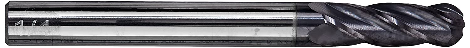 Pack of 1 4 Flute Ball Nose End TiN Coated 17//64 Cutting Diameter 2-1//2 Length 3//4 Cutting Length 30 Degrees Helix Cobra Carbide 23430 Micro Grain Solid Carbide Regular Length General End Mill