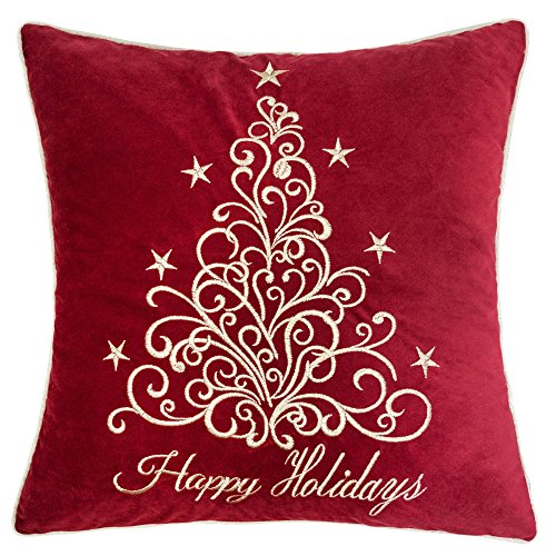 Homey Cozy Embroidery Red Velvet Throw Pillow Cover, Merry Christmas Series Floral Tree Luxury Soft Fuzzy Cozy Warm Slik Decorative Gift Square Couch Cushion Pillow Case 20 x 20 Inch, Cover Only - Merry Christmas Throw Pillow