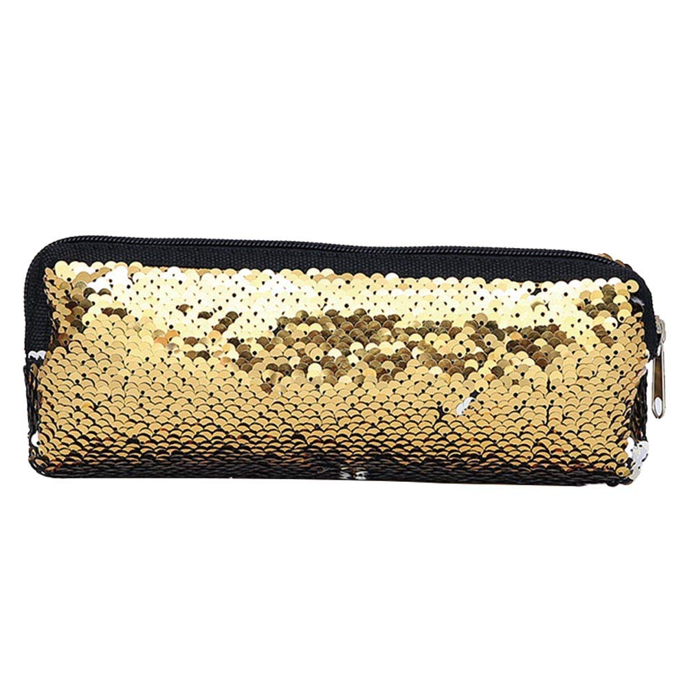 Xuxuou Pencil Case Bag, Sequin Pure Cover Stationery Pen Stylish Cosmetic Bag Storage Bag Multi-Functional Storage Bag for Travel