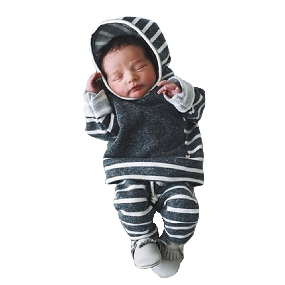 2Pcs Newborn Infant Baby Boy Girl Clothes Set,Striped Hooded Tops+Pants Outfits,Winter Thick T-Shirt Warm Sweatshirt Clothes Gift