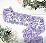 Lace Bachelorette Sash - Lavender Lace - White ''Bride To Be''