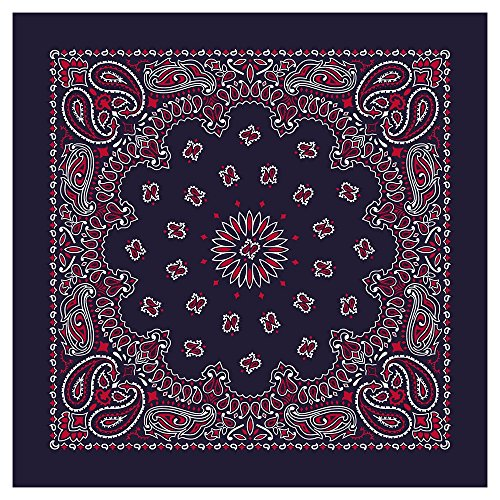 "100% Cotton Western Paisley Bandanas (22"" x 22"") Made in USA - Blue/Red Single Piece 22x22 - Use For Handkerchief, Headband, Cowboy Party, Wristband, Head Scarf - Double Sided Print ()"