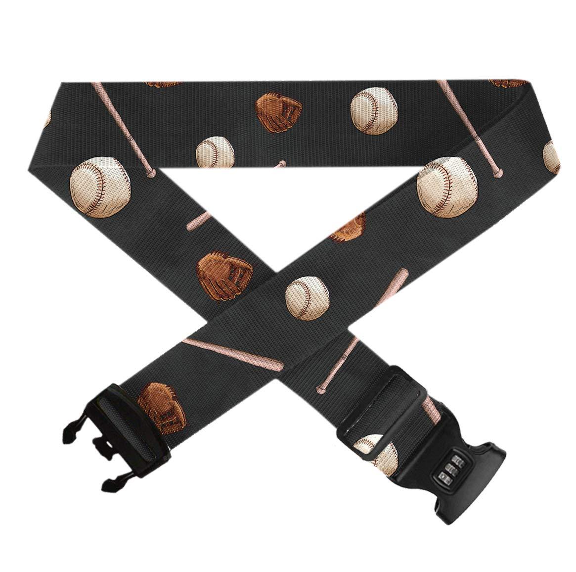 Travel Luggage Straps 1 Pack Suitcase Belt Adjustable Luggage Strap TSA 3-dial Combination Lock GLORY ART Baseball Ball Bat