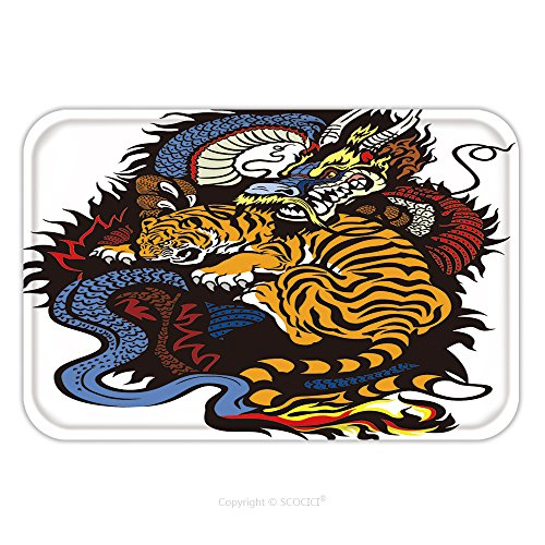 Flannel Microfiber Non-slip Rubber Backing Soft Absorbent Doormat Mat Rug Carpet Dragon And Tiger Fighting Tattoo Illustration 162088691 for Indoor/Outdoor/Bathroom/Kitchen/Workstations