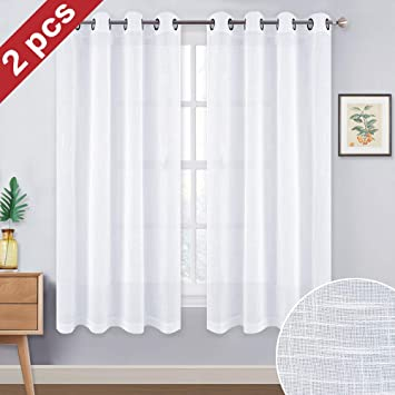 Amazoncom Nicetown Sheer Curtains For Small Window Thick Linen