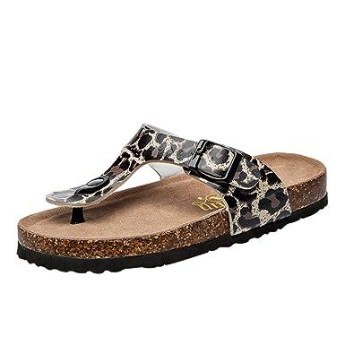 65f9b0a86ddf Behkiuoda Women Flip Flops Double Buckle Strap Summer Leopard Beach Shoes  Plus Size Flat Slipper Black