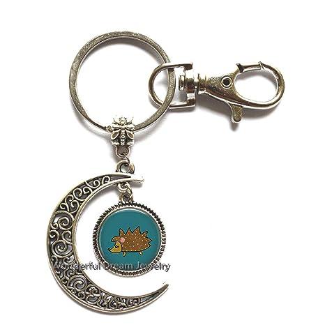 Amazon.com: Llavero de Hedgehog Moon, joyería de Hedgehog ...