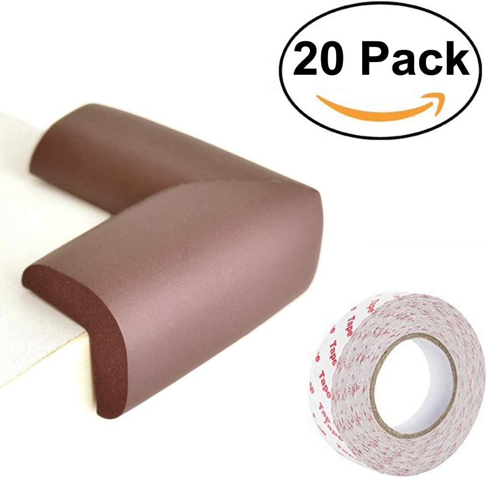 Flytex 20 Pack Baby Safety Bumpers Premium Childproofing Protector 2.2x1.4x0.5 with Strong Adhesive Safety Corners for Children Brown