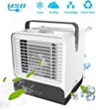 VOUM Personal Air Cooler Fan, Portable Air Conditioner, Humidifier, Box Fan,Purifier 3 in 1 Evaporative Cooler,Mini AC USB Cooling Desktop Fan for Bedroom, Travel, Office(White)