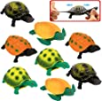 Turtle ToysSea Ocean Animal 5 Inch Rubber Tortoise Turtle Sets(8 Pack)Great Safety Material TPR Super StretchyCan Hide In Shell ValeforToy Bathtub Bath Pool Toy Party Favors Boys Kids