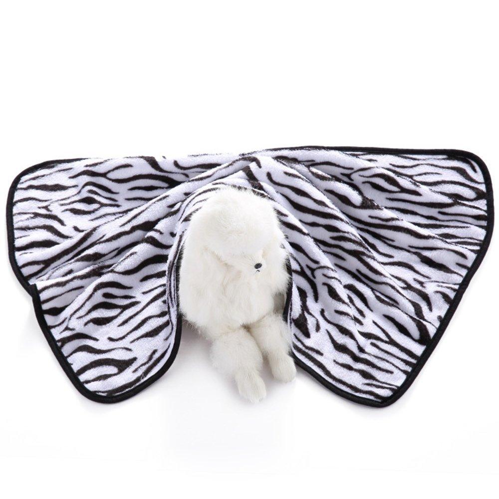 E-Smarfs Pet Zebra Print Dog Blanket Warm and Soft Flannel Fleece Dog Throw, Zebra, Medium