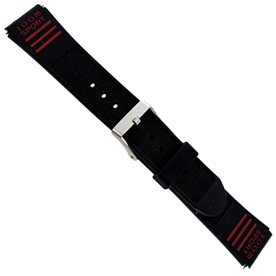 19 mm flex-on Timex triatlón negro de goma logotipo rojo 100 m reloj deportivo
