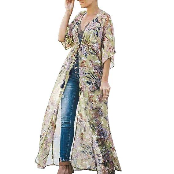 7c96f6452 Qingsiy Blusa para La Playa Largo Bohemio Hippie Vestido Estampado Mujer  Tunica Piscina Kaftan Kimono Vestidos