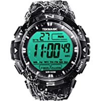 TEKMAGIC 10 ATM Digital Submersible Diving Watch 100m Water Resistant Swimming Sport Wristwatch Luminous LCD Screen with…