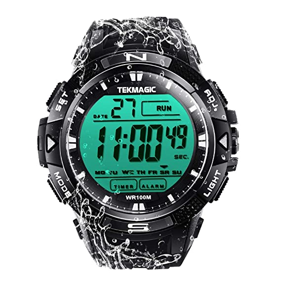 TEKMAGIC 10 ATM Digital Submersible Diving Watch 100m Water Resistant Swimming Sport Wristwatch Luminous LCD Screen with Stopwatch Alarm Function