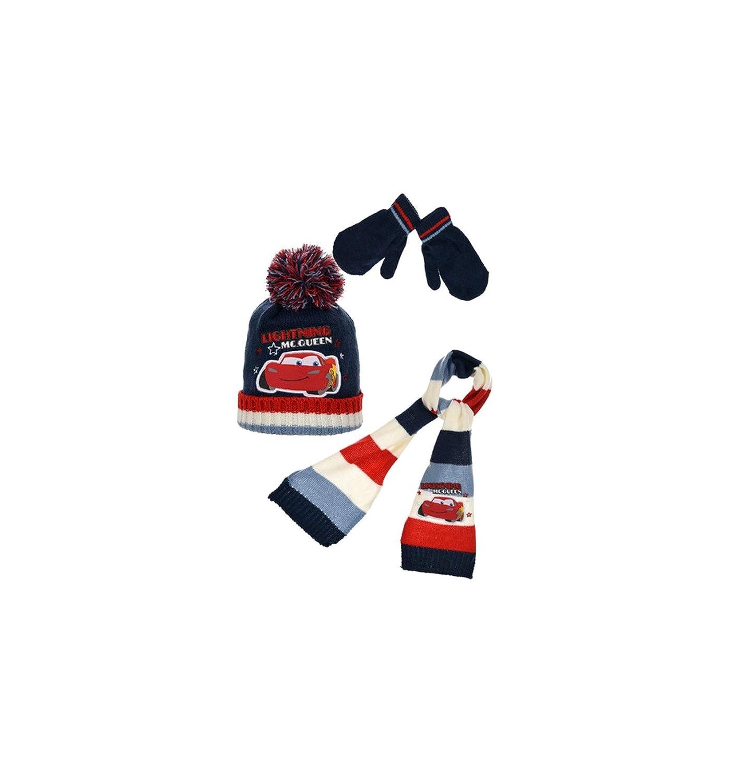 Cars Echarpe, bonnet et moufles bébé/enfant garçon Marine et Gris de 9mois à 3ans EBM-BG-CAR-HO4431